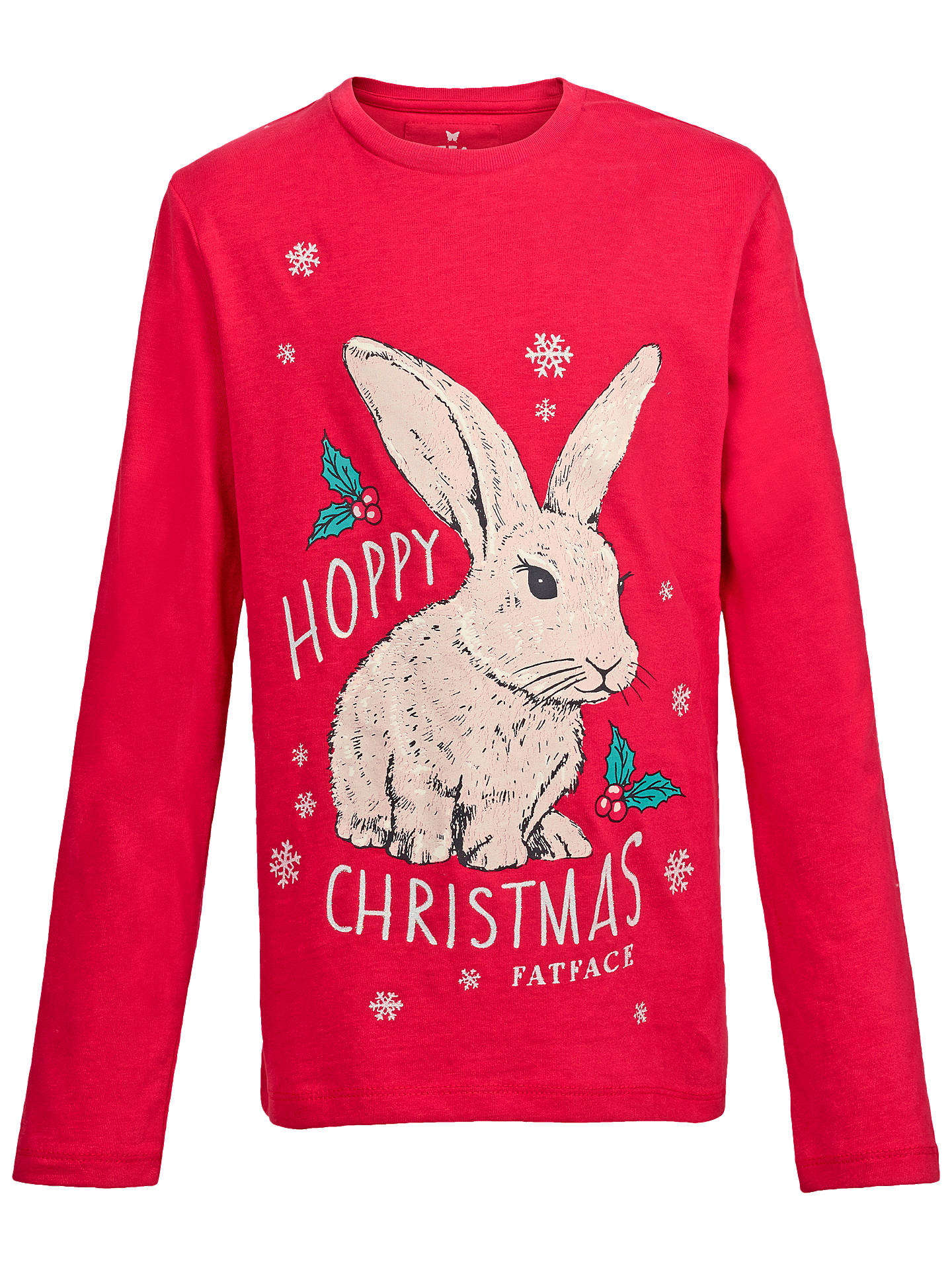 e1bdd525 Fat Face Girls' Hoppy Christmas Rabbit T-Shirt, Red at John Lewis ...