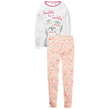 Buy Fat Face Children's Penguin Snug Pyjamas, Pink/White Online at johnlewis.com