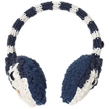 Buy Fat Face Children's Striped Penguin Ear Muffs, Blue/White Online at johnlewis.com