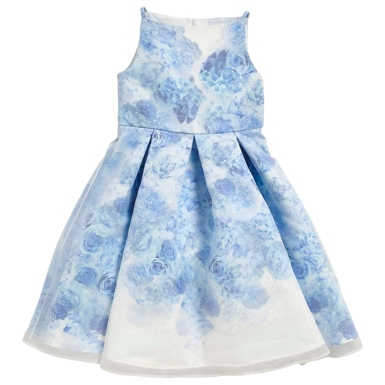Angel & Rocket Girls\' Floral Print Dress, Blue at John Lewis