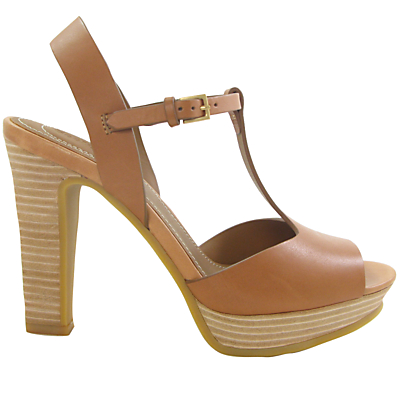 See by Chloé Alex Block Heel T-Bar Sandals, Tan