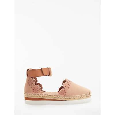 See by Chloé Cut Out Embroidered Flatform Espadrilles, Pink Suede