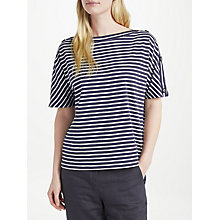Buy Collection WEEKEND by John Lewis Bateaux Neck Stripe T-Shirt, Dark Blue/Ecru Online at johnlewis.com