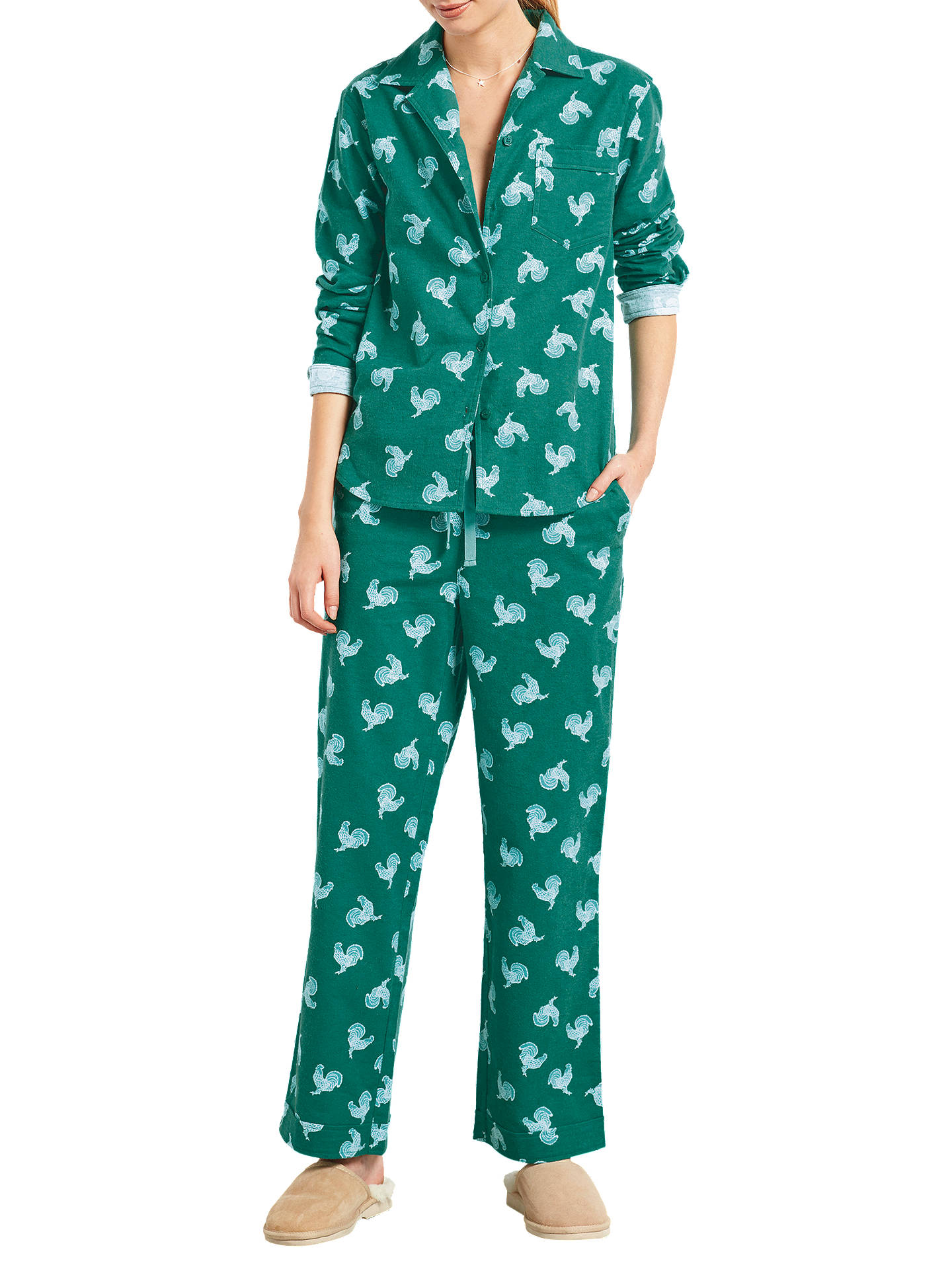 1421dc18fe867e Buy hush Rooster Print Flannel Pyjama Set, Deep Sea/Aqua, XS Online at ...