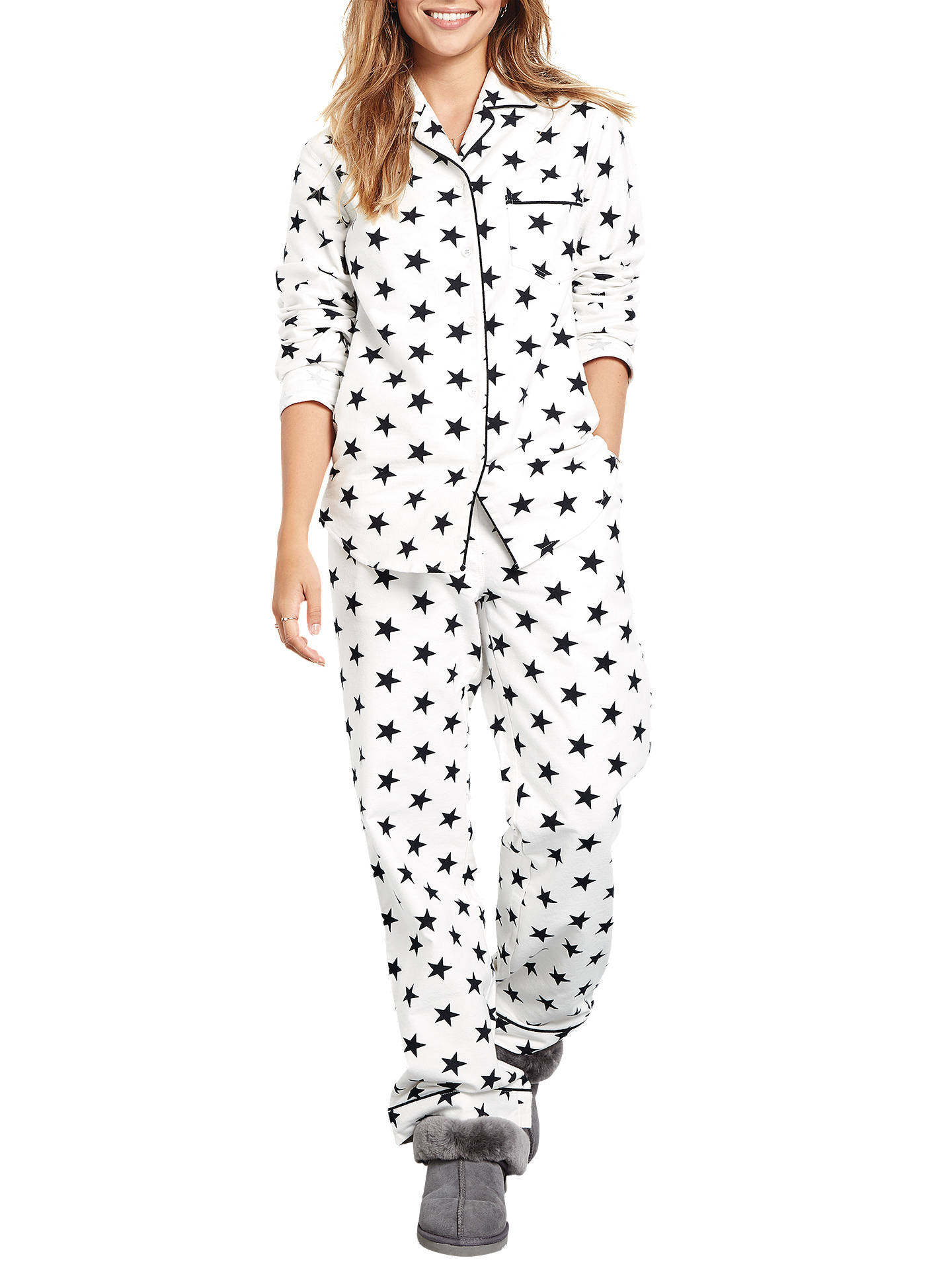 67c9c38700 Buy hush Star Print Cotton Flannel Pyjama Set, White/Black, XS Online at ...