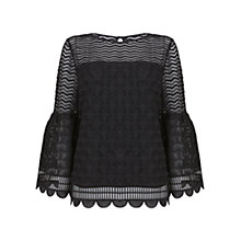 Buy Mint Velvet Deco Lace Fluted Blouse, Black Online at johnlewis.com