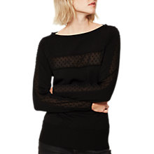 Buy Mint Velvet Dobby Insert Jumper, Black Online at johnlewis.com