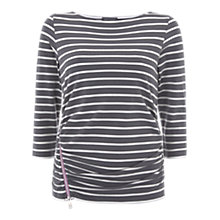 Buy Mint Velvet Contrast Zip Stripe T-Shirt, Grey Stripe Online at johnlewis.com