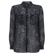 Buy Mint Velvet Claudia Star Print Sheer Blouse, Black Online at johnlewis.com