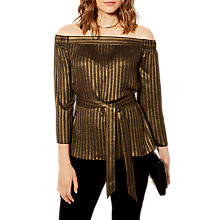 Buy Karen Millen Metallic Bardot Top, Gold Online at johnlewis.com