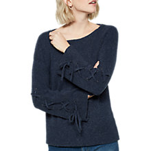 Buy Mint Velvet Lace Up Sleeve Knit Jumper, Dark Blue Online at johnlewis.com