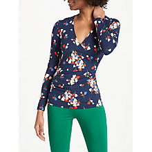 Buy Boden Long Sleeve Wrap Top, Navy Tulip Online at johnlewis.com