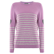 Buy Mint Velvet Stripe Heart Jumper, Purple Online at johnlewis.com