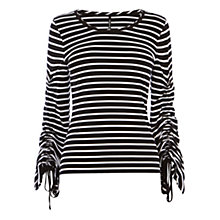 Buy Karen Millen Drawstring Sleeve Jersey Top, Black/White Online at johnlewis.com