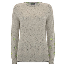 Buy Mint Velvet Star Sleeve Crew Neck Jumper, Grey Online at johnlewis.com