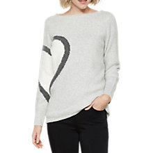 Buy Mint Velvet Heart Motif Jumper, Silver Grey Online at johnlewis.com