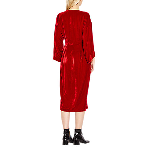 Buy Ghost Jess Velvet Dress, Red Online at johnlewis.com
