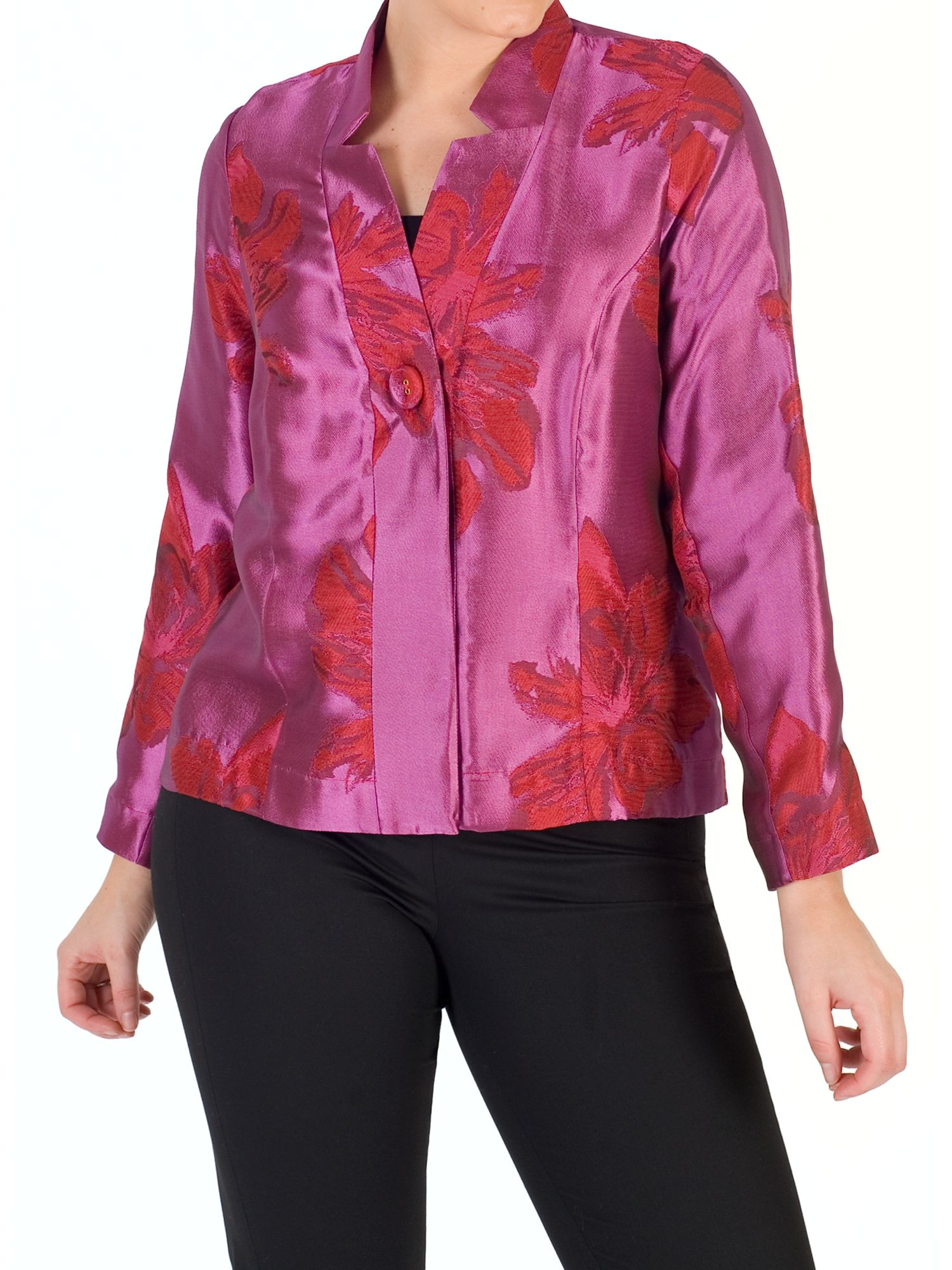 Chesca Chesca Floral Jacquard Jacket, Red/Hot Pink