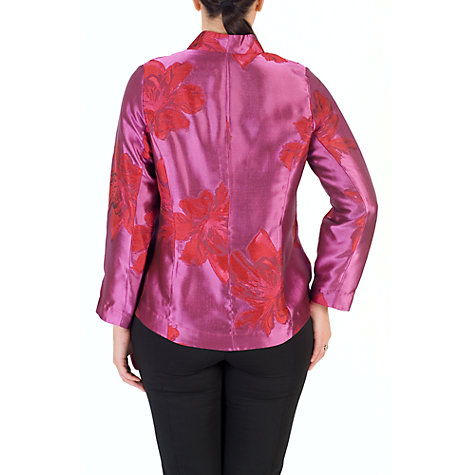 Buy Chesca Floral Jacquard Jacket, Red/Hot Pink Online at johnlewis.com