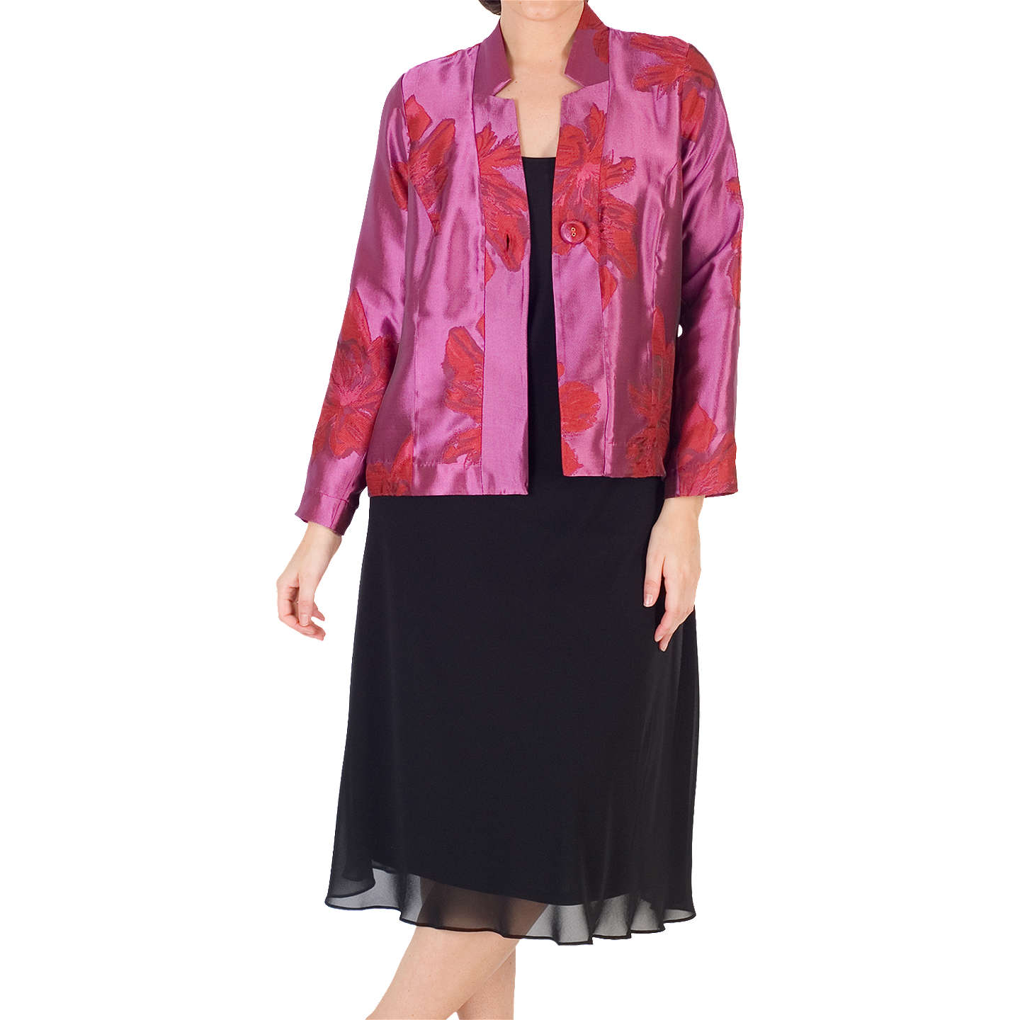 BuyChesca Floral Jacquard Jacket, Red/Hot Pink, 14 Online at johnlewis.com