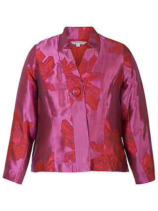 Buy Chesca Floral Jacquard Jacket, Red/Hot Pink, 14 Online at johnlewis.com
