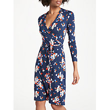 Buy Boden Wrap Jersey Dress, Red Pop/Ivory Spot Jacquard Online at johnlewis.com