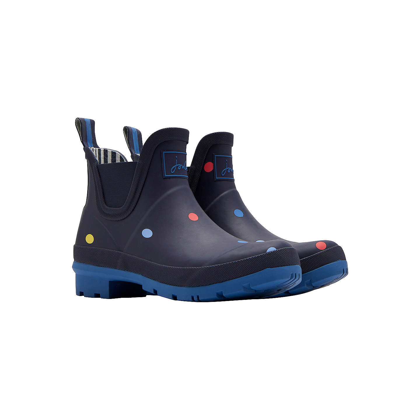 ... BuyJoules Wellibob Waterproof Pop Spot Ankle High Wellington Boots, Navy,  3 Online at johnlewis ...