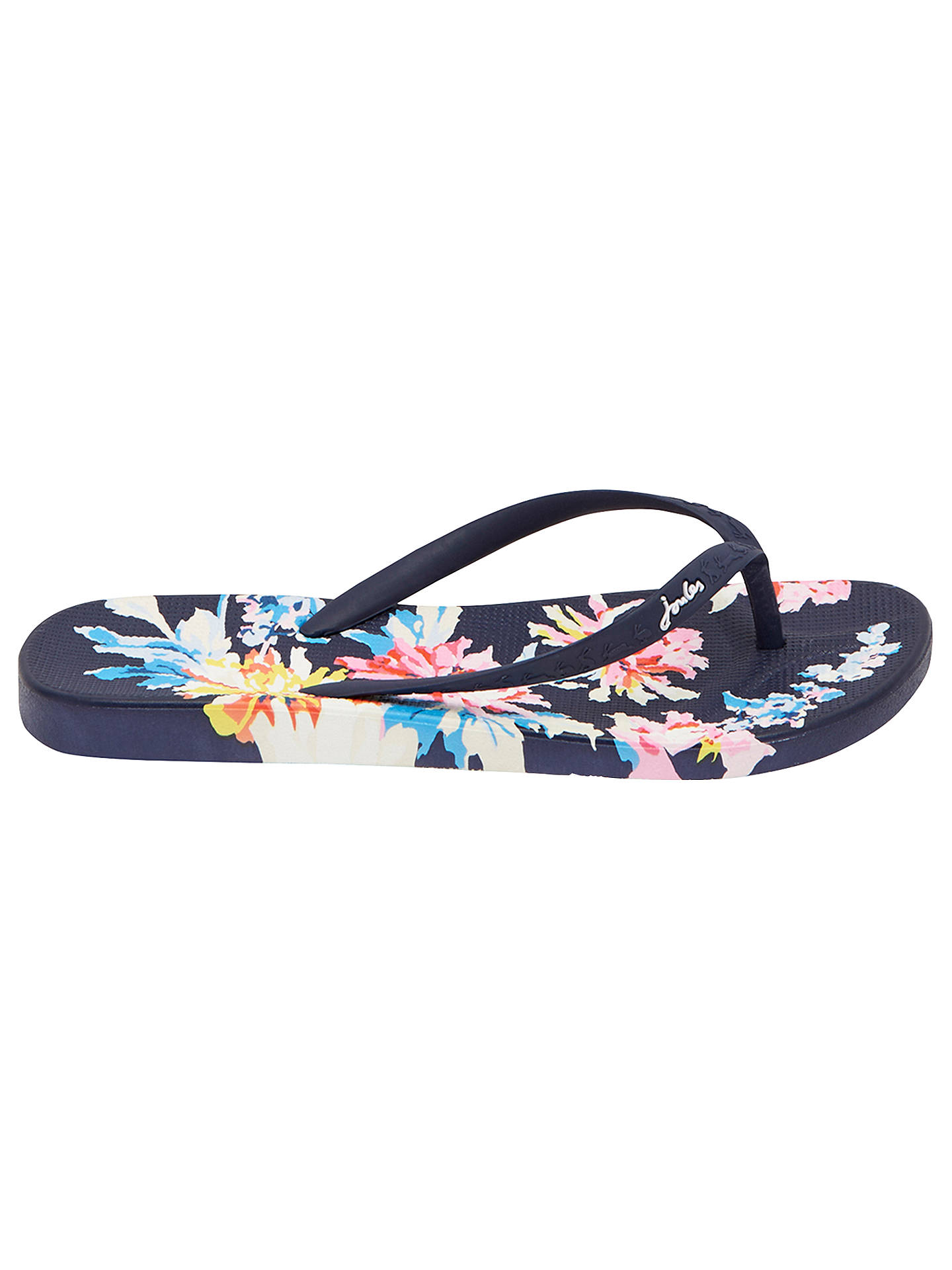 available new & pre-owned designer full range of specifications Joules Whitstable Floral Flip Flops, Navy at John Lewis ...