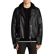 Buy AllSaints Hawk Leather Biker Jacket, Black Online at johnlewis.com