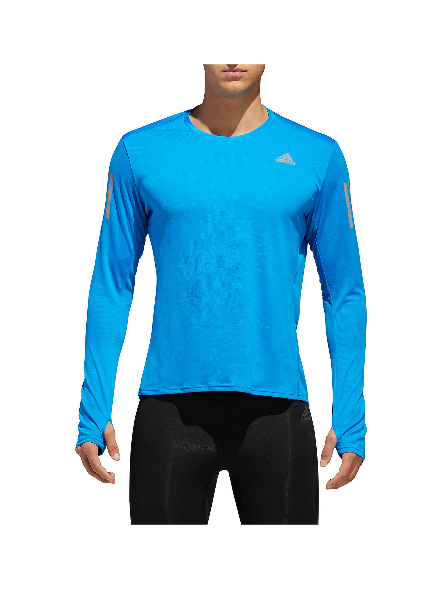 Buy adidas Response Long Sleeve Running Top, Bright Blue, S Online at johnlewis.com