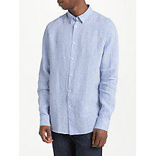 Buy J.Lindeberg Daniel Long Sleeve Linen Shirt, Blue Online at johnlewis.com
