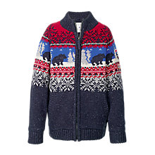 Buy Fat Face Boys' Bear Funnel Neck Zip Through Jumper, Navy Online at johnlewis.com