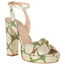 Buy L.K.Bennett Annabella High Block Heel Sandals, Green Online at johnlewis.com