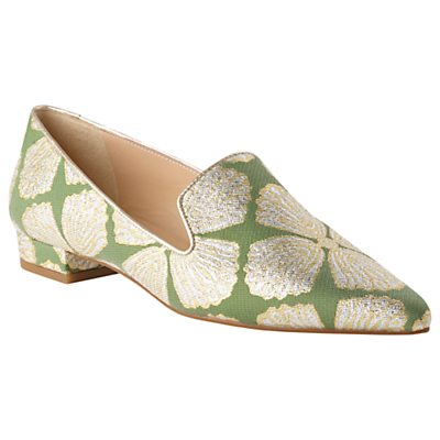 L.K.Bennett Arie Pointed Toe Flat Loafers, Light Green