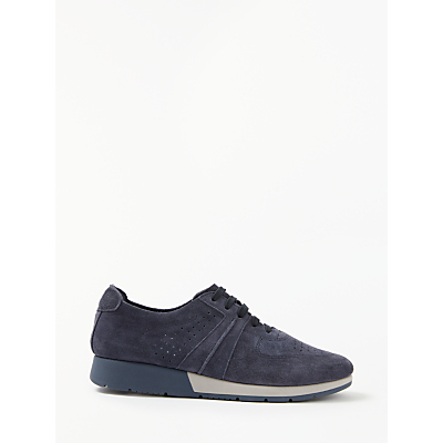 John Lewis Designed for Comfort Erika Lace Up Trainers, Navy Suede