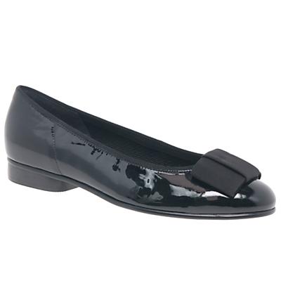 Gabor Assist Bow Ballet Pumps, Black Patent Leather
