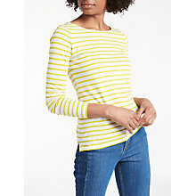 Buy Boden Long Sleeve Breton Top, Ivory/Citron Online at johnlewis.com