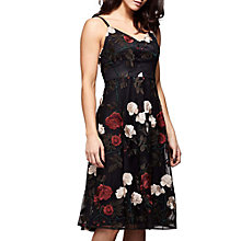 Buy Yumi Floral Mesh Dress, Black Online at johnlewis.com