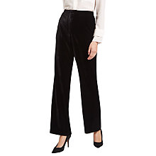 Buy Jaeger Plain Velvet Trousers, Black Online at johnlewis.com