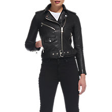 Buy Whistles Agnes Biker Jacket, Black Online at johnlewis.com