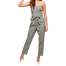 Buy Miss Selfridge Check Bandeau Jumpsuit, Grey/Multi Online at johnlewis.com