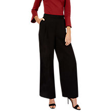Buy Jaeger Wide Leg Crepe Trousers, Black Online at johnlewis.com