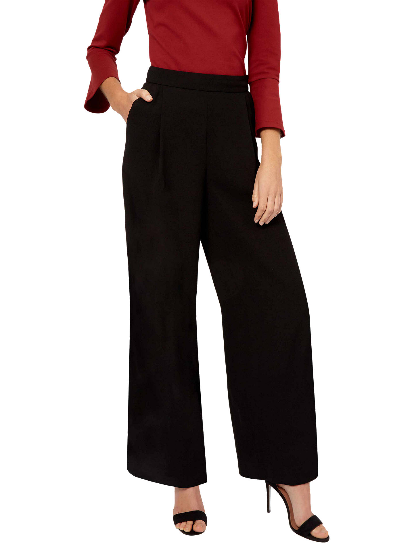 BuyJaeger Wide Leg Crepe Trousers, Black, 6 Online at johnlewis.com
