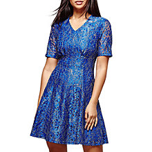 Buy Yumi Metallic Foil Lace Tea Dress, Blue Online at johnlewis.com