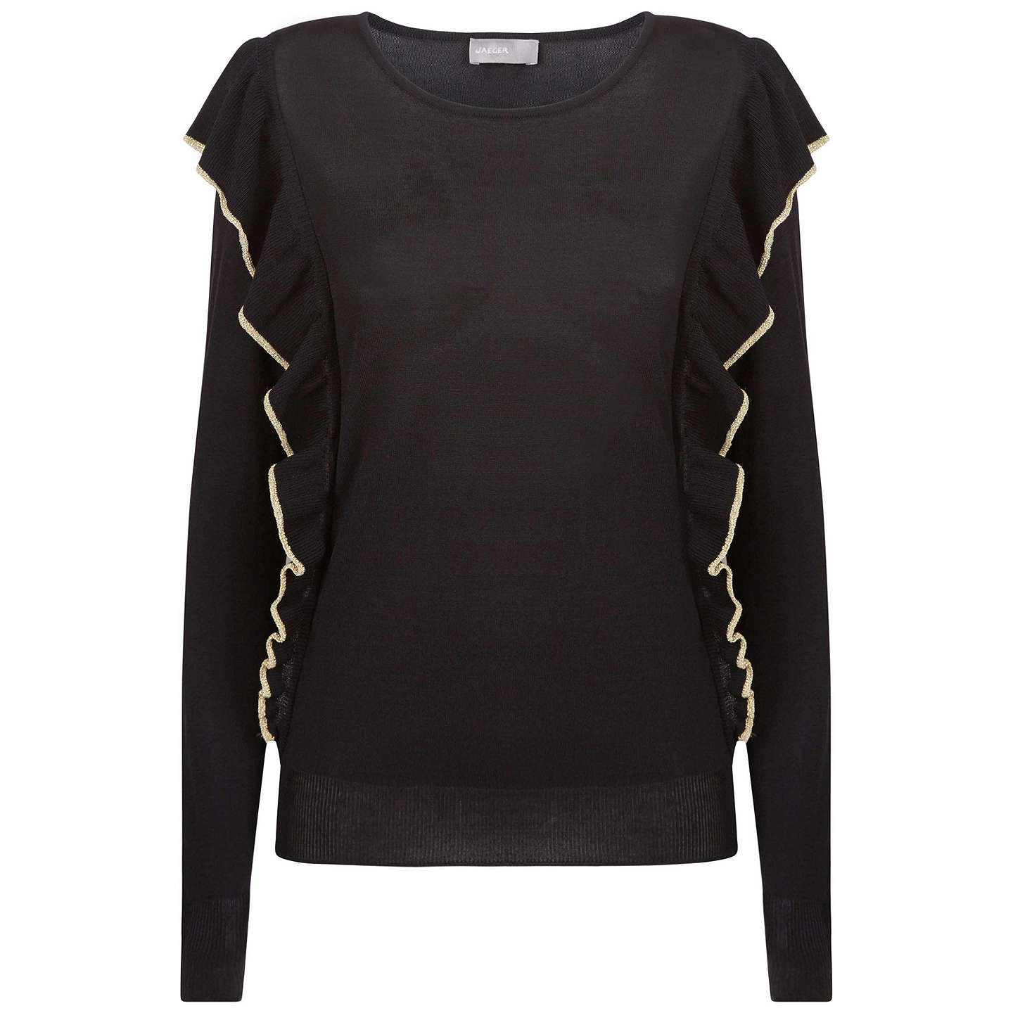 BuyJaeger Metallic Tipped Frill Jumper, Black, S Online at johnlewis.com