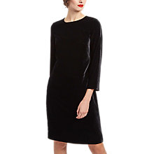 Buy Jaeger Velvet Shift Dress, Black Online at johnlewis.com
