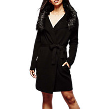 Buy Yumi Faux Fur Wrap Cardigan, Black Online at johnlewis.com