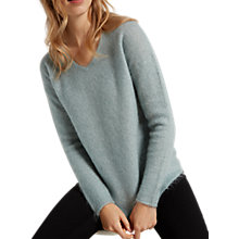 Buy White Stuff Fluffy V-Neck Jumper, Mint Green Online at johnlewis.com