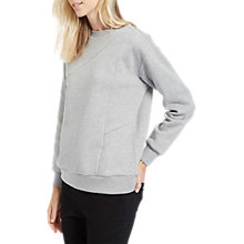 Buy Jaeger Stitch Detail Cotton Sweatshirt, Grey Marl Online at johnlewis.com