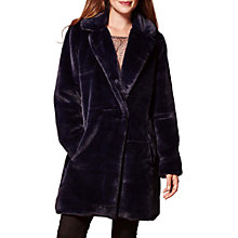 Buy Yumi Oversized Faux Fur Coat, Navy Online at johnlewis.com